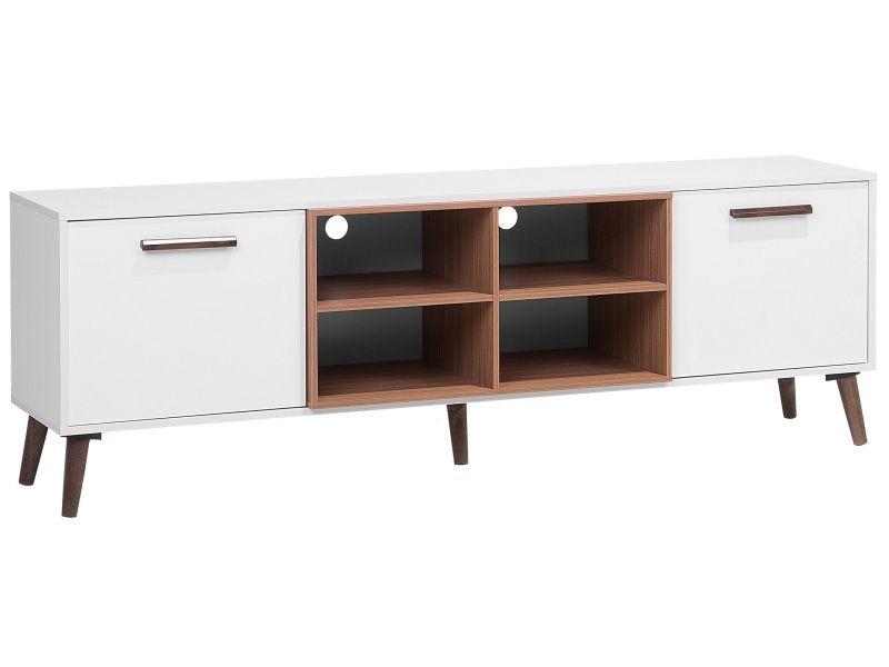Meuble tv en bois blanc et marron alloa 111235