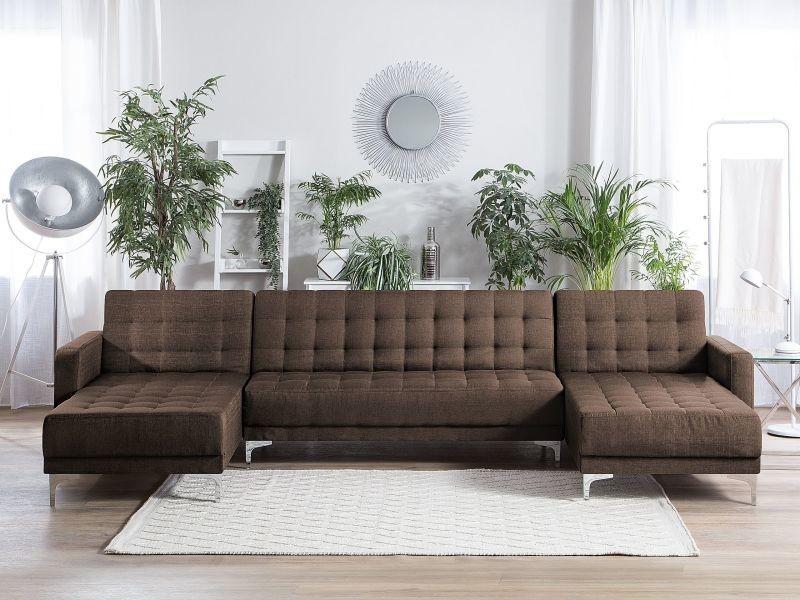 Canapé panoramique convertible en tissu marron foncé 5 places aberdeen 145009