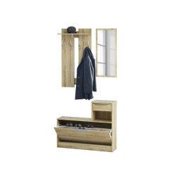 Vestiaire + miroir, 1 tiroir et 1 abattant en bois chêne brossé -pegane-