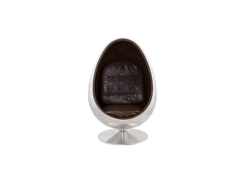 Fauteuil design 78x89x130 cm alu et marron - uova