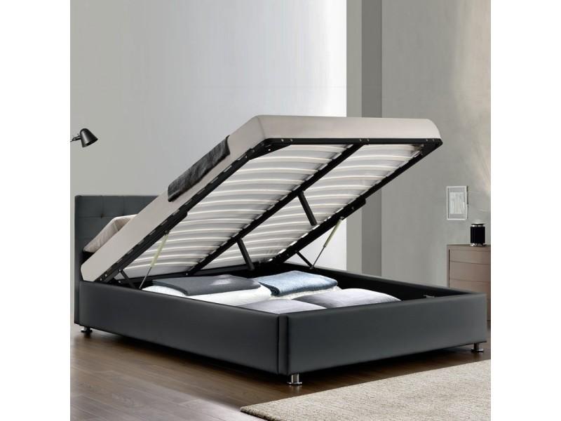 Lit adulte complet sommier relevable + tête de lit + cadre de lit capitole - gris - 140x190 ...