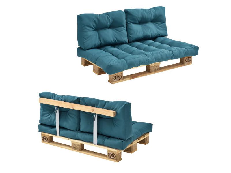 [en.casa] canapé de palette euro- 2-siège avec coussins- [turquoise] kit complète incl. Dossier