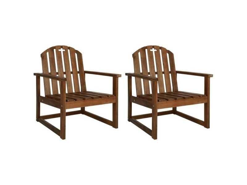 Vidaxl chaises de jardin 2 pcs bois d\'acacia solide 44033 ...