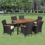 Vidaxl mobilier de jardin 7 pcs résine tressée dessus table acacia