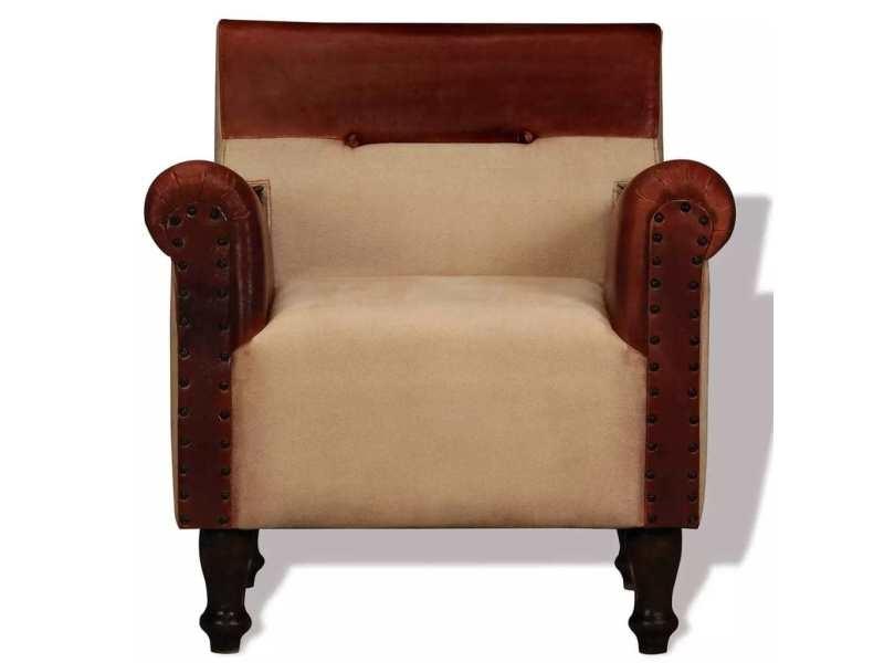 Icaverne - fauteuils club, fauteuils inclinables et chauffeuses lits gamme fauteuil cuir véritable et tissu marron et beige
