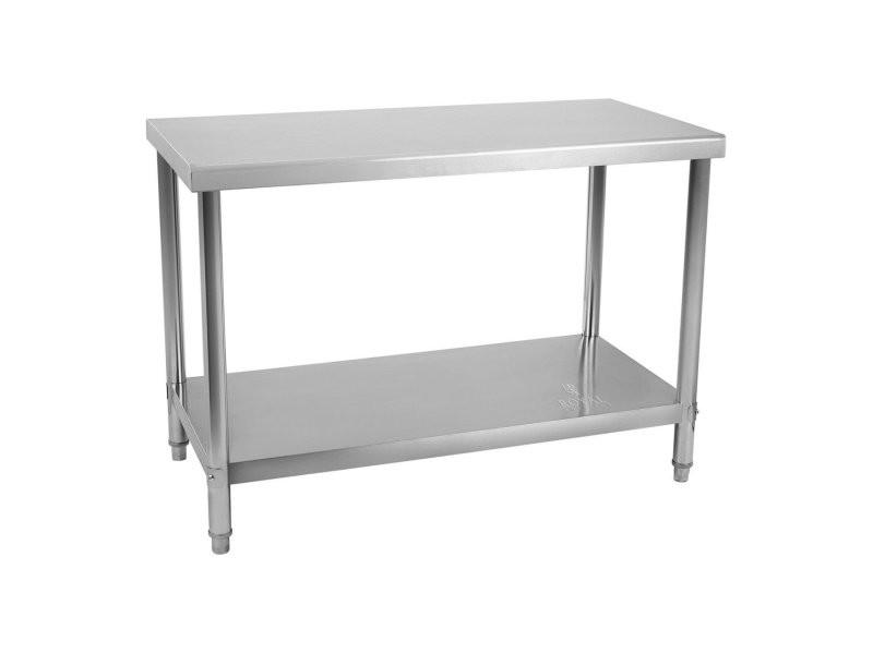Table de travail cuisine professionnelle acier inox 100 x 70 cm 95 kg helloshop26 14_0003677