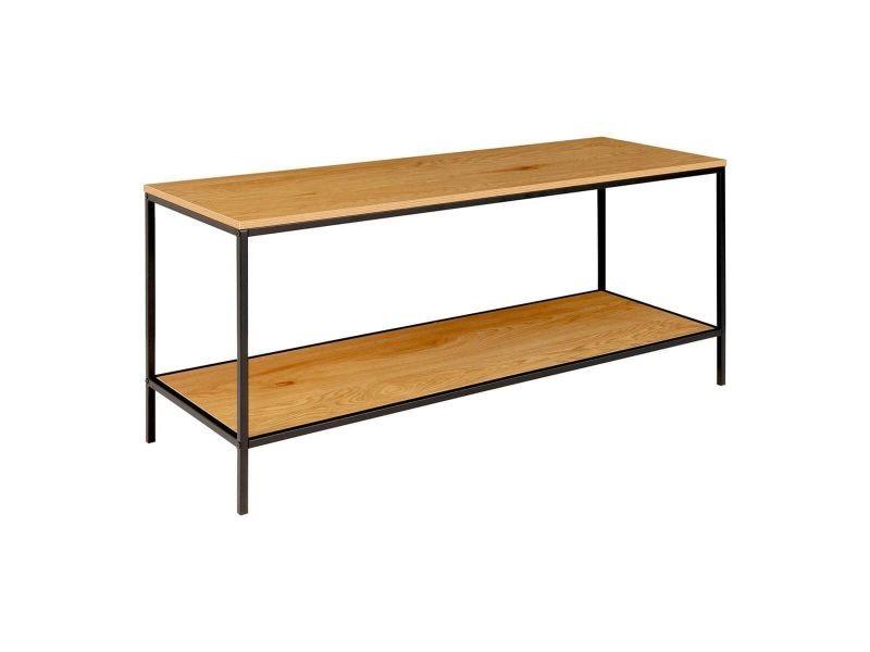 Vollrad - meuble tv acier noir et plateau bois naturel