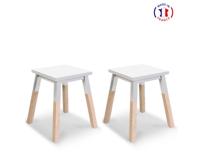 2 tabourets laqués en frêne 40x40 cm blanc balisson - 100% fabrication française