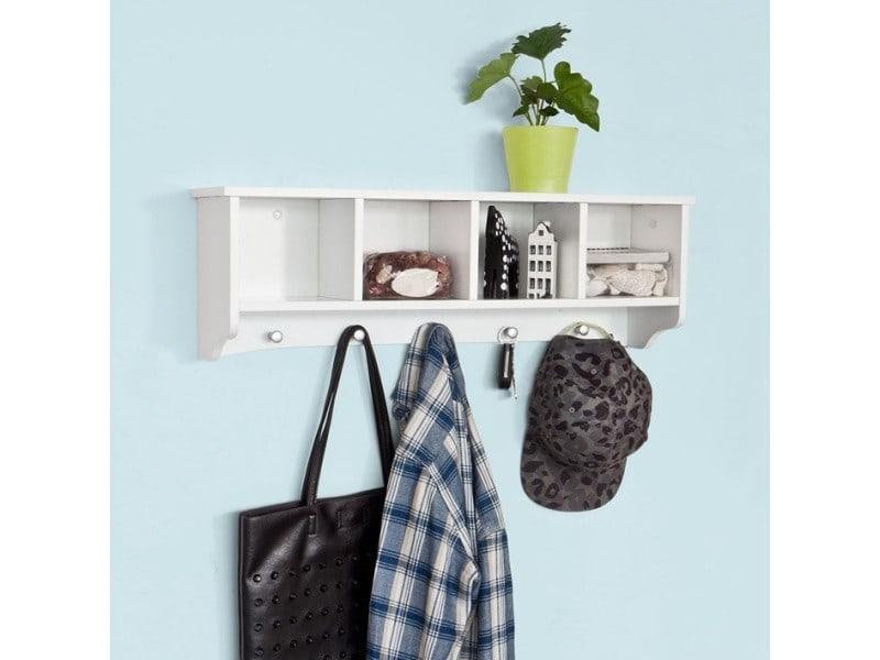 Penderie mural portemanteau étagère murale porte-manteau salle de bain meuble d'entrée - blanc sobuy® frg48-l-w