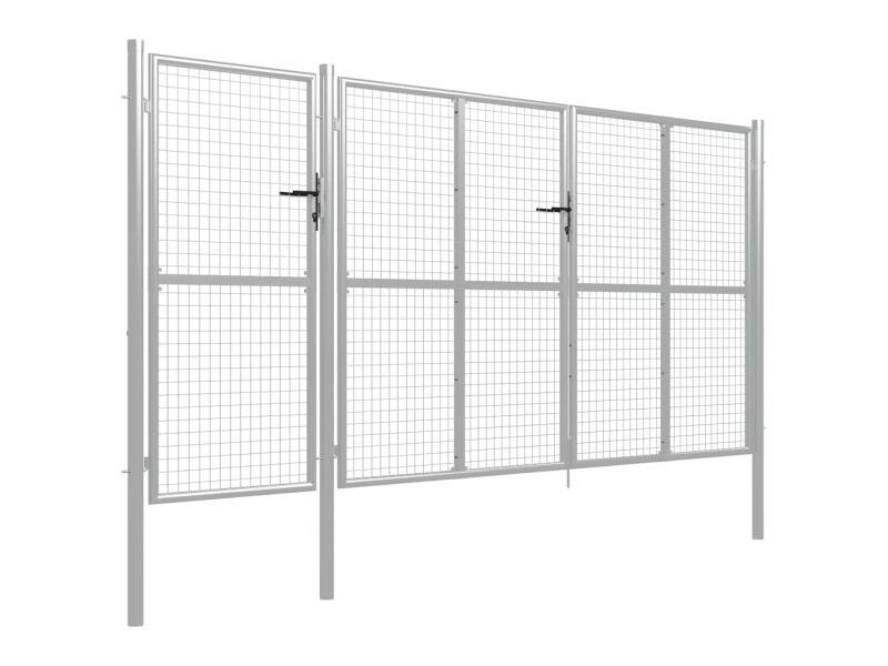 Vidaxl portail de jardin acier 400 x 200 cm argenté 144351