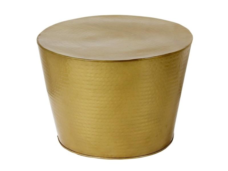 630259f2600227 Table basse ronde en métal poli martelé gaby or - Vente de Table basse -  Conforama