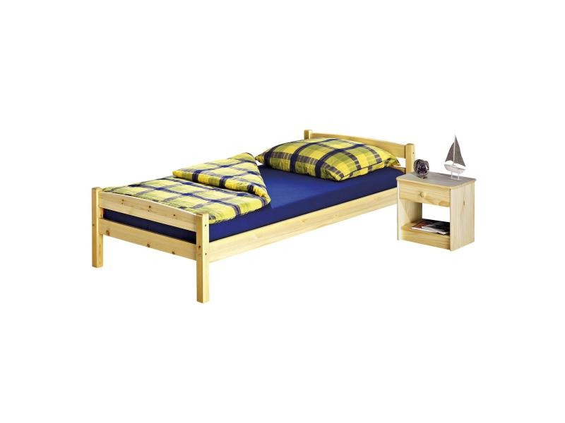 Lit simple 90 x 190 cm pin massif vernis naturel vente de lit adulte conf - Modele de lit adulte en bois ...