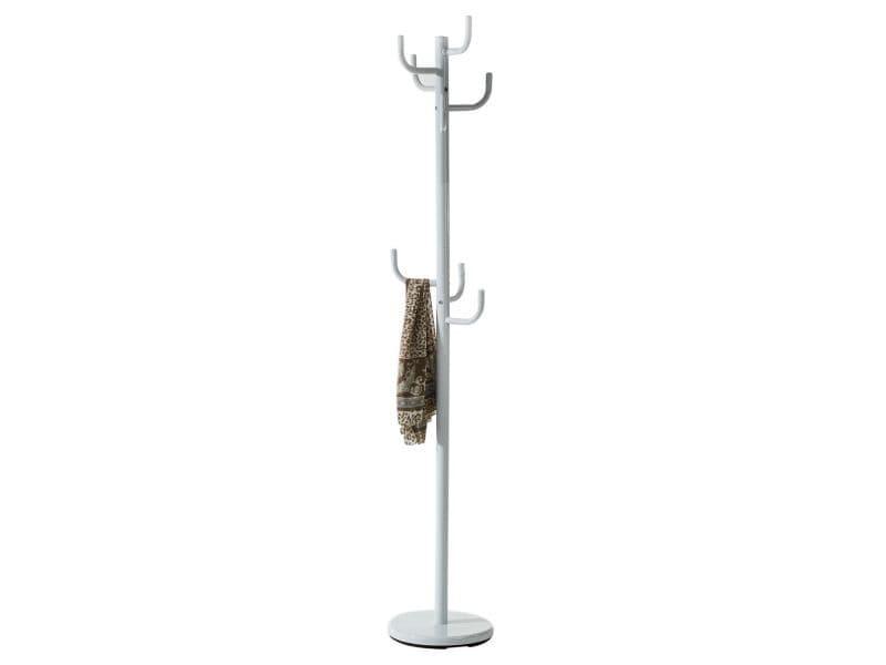 Porte-manteaux mila portant pour vêtements sur pied hauteur 174 cm socle rond et 8 crochets, meuble d'entrée en métal laqué blanc