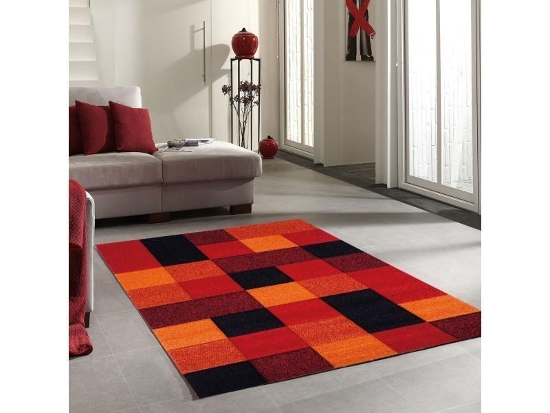 Tapis salon moderne motif géométrique brillance cube noir ...