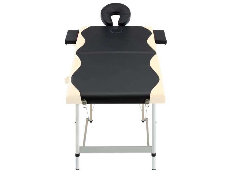 Icaverne - tables de massage reference table de massage pliable 2 zones aluminium noir et beige
