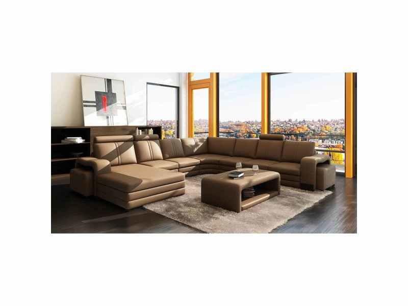 Canapé d'angle panoramique cuir marron 10 places havane - angle gauche