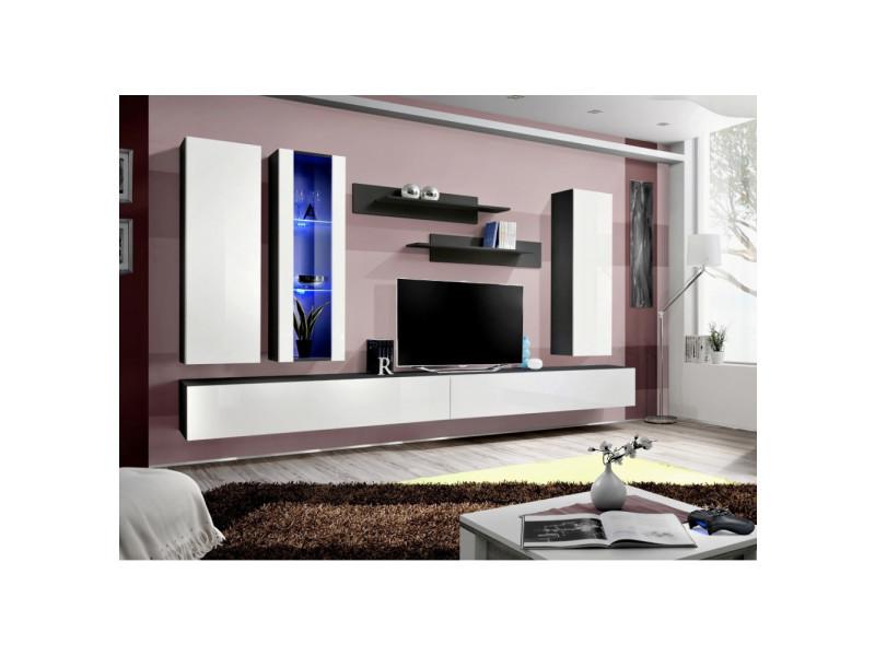 Ensemble meuble tv mural - fly iv - 320 cm x 190 cm x 40 cm - noir et blanc