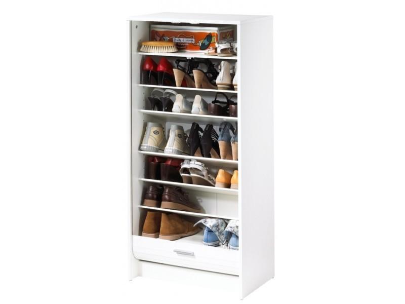 Meuble à chaussures blanc 7 tablettes - coloris: blanc