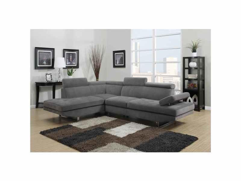 Canapé d'angle design tissu rubic gris (gauche)-