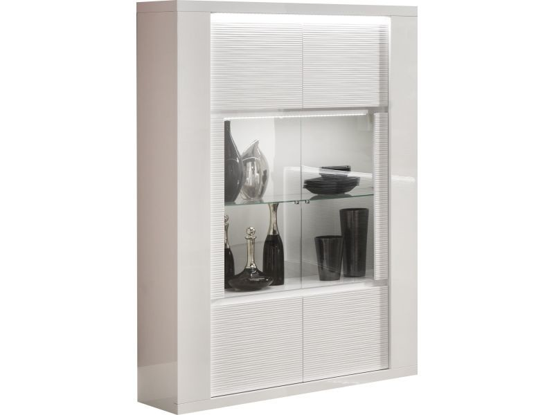 Vitrine A 2 Portes Coloris Blanc Laque Brillant Avec Eclairages P