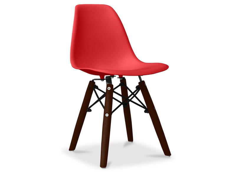Chaise enfant dsw pieds foncés charles eames - style- polypropylène rouge