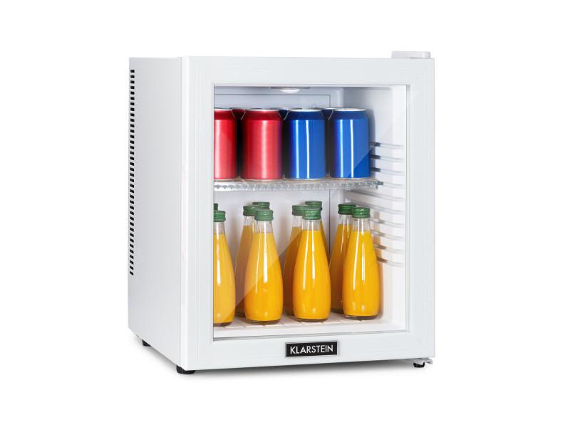 Klarstein brooklyn 32 white mini réfrigérateur cee a porte vitrée led clayette blanc