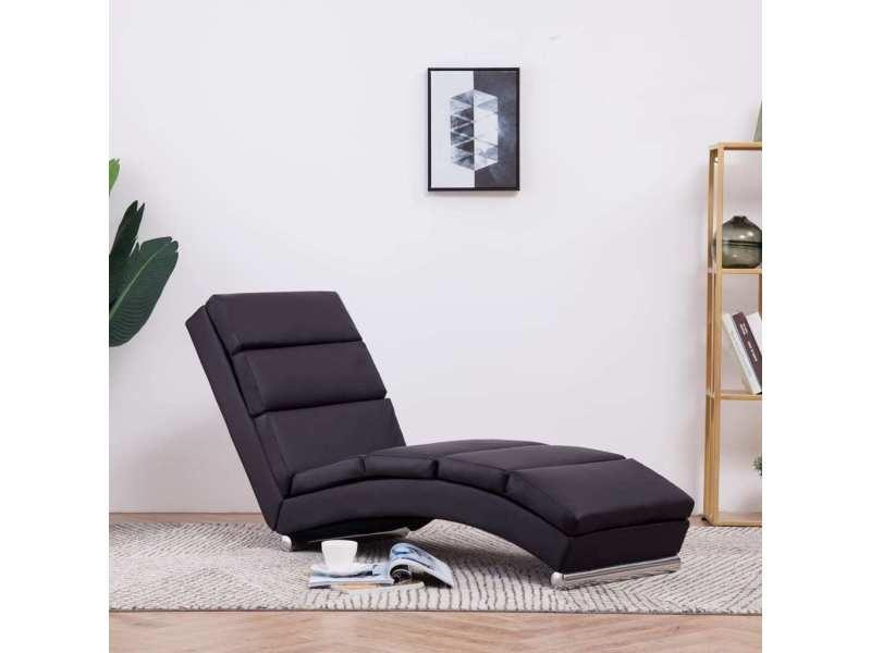 Stylé fauteuils et chaises edition funafuti chaise longue marron similicuir