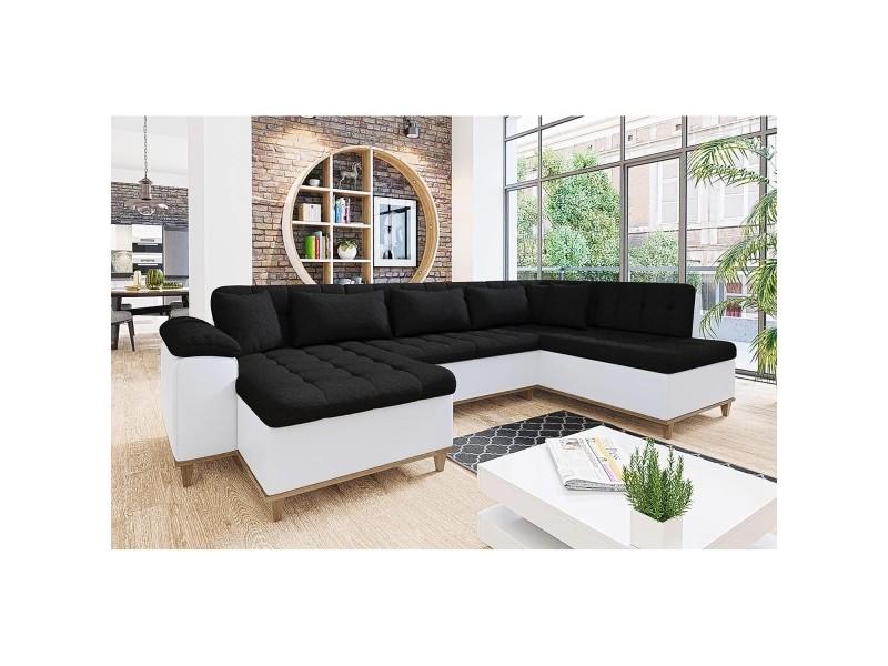 Mina - canapé d'angle convertible en tissu noir et blanc- angle gauche