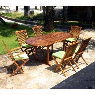 Salon en teck pour jardin 6 chaises et fauteuils - Vente de Salon de ...