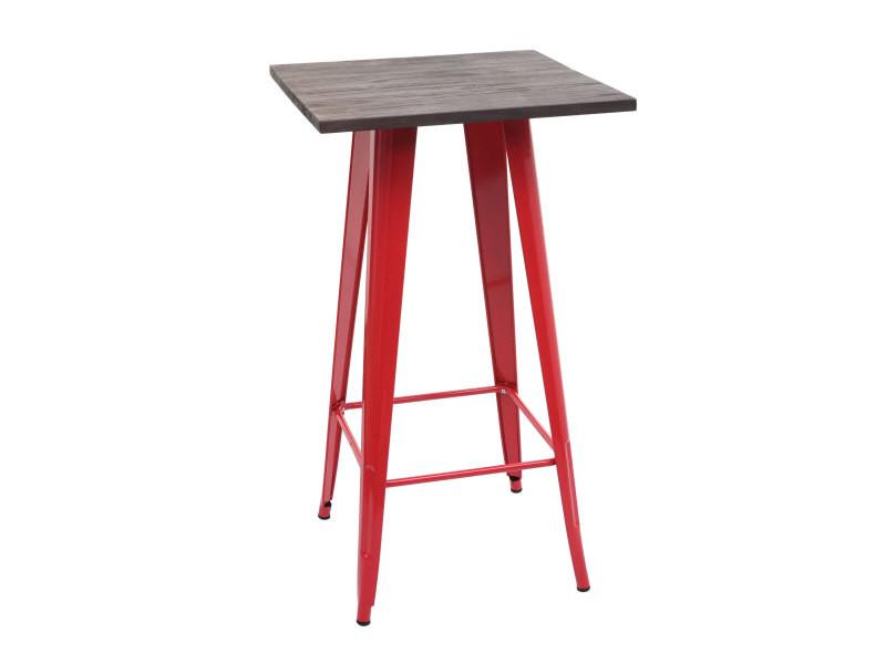 Table haute hwc-a73 avec plateau en bois, table de bar, design industriel en métal 107x60x60cm ~ rouge