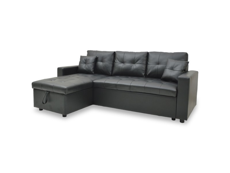 Canapé d'angle gauche convertible noir