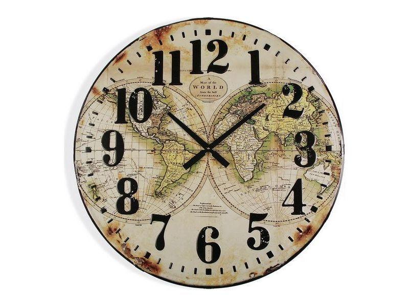 Horloges murales et de table chic horloge murale map world bois mdf (80 x 6 x 80 cm)