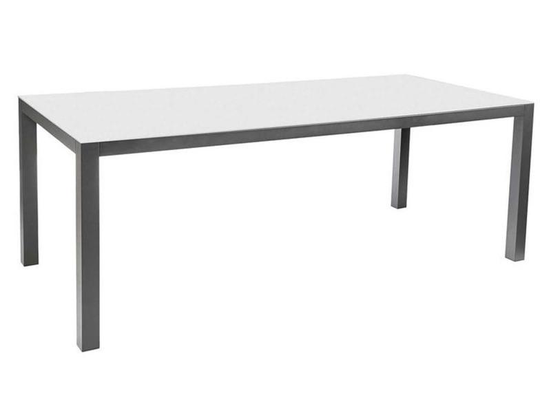 Table extensible en aluminium et plateau en verre, gris perle - dim : 135/270 x d90 x h75 cm -pegane-