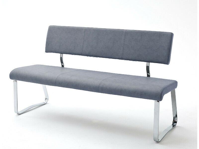 Banc en métal et simili cuir coloris gris bleu - longueur 155 x hauteur 85 x profondeur 58 cm -pegane-