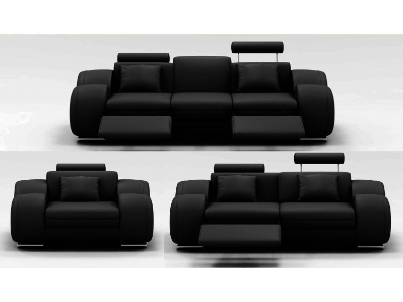 Ensemble cuir relax oslo 3+2+1 places noir-