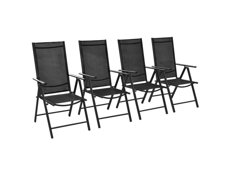 Chaises pliables de jardin 4 pcs aluminium et textilène noir 41731