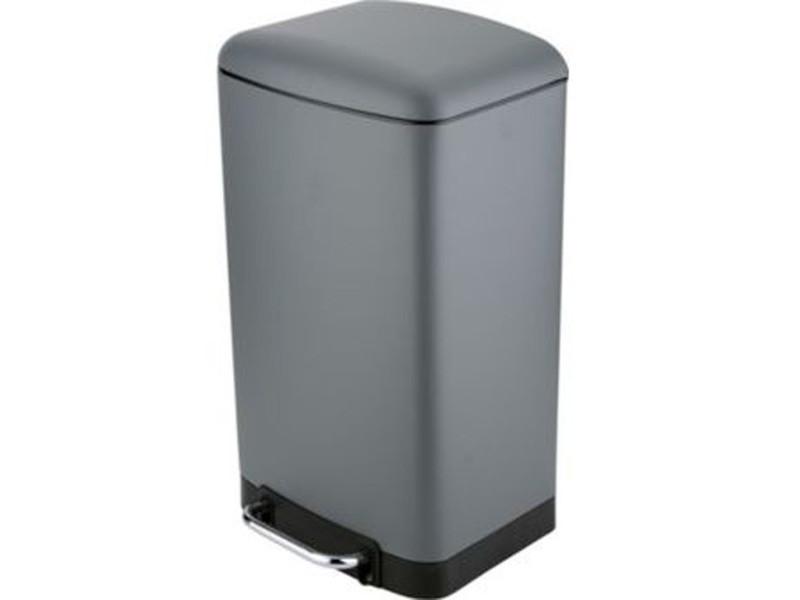 Poubelle rectangulaire à pédale coloris anthracite - 30 litres -pegane-