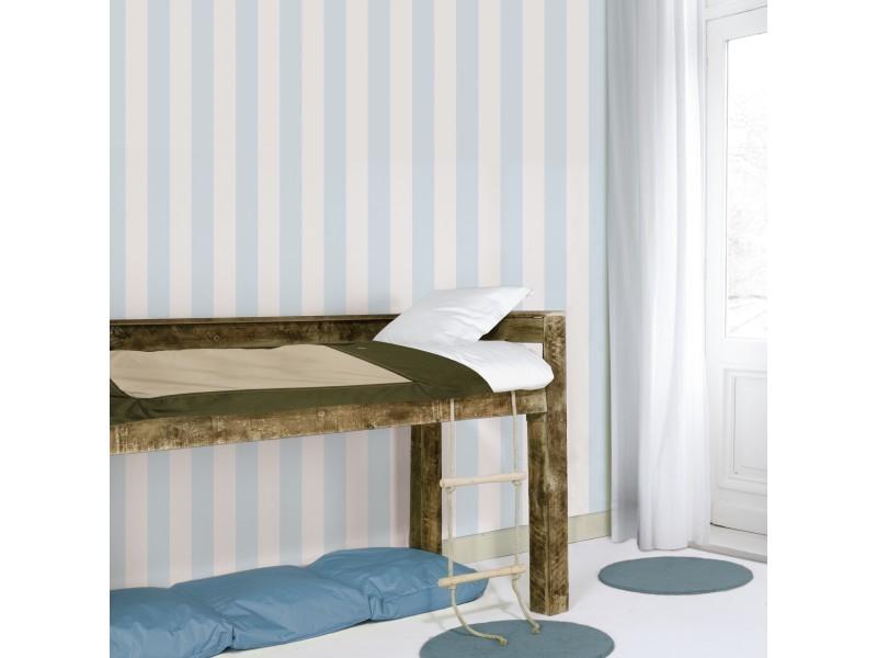 Papier peint intissé rayures 1005 x 52cm bleu, blanc 100097