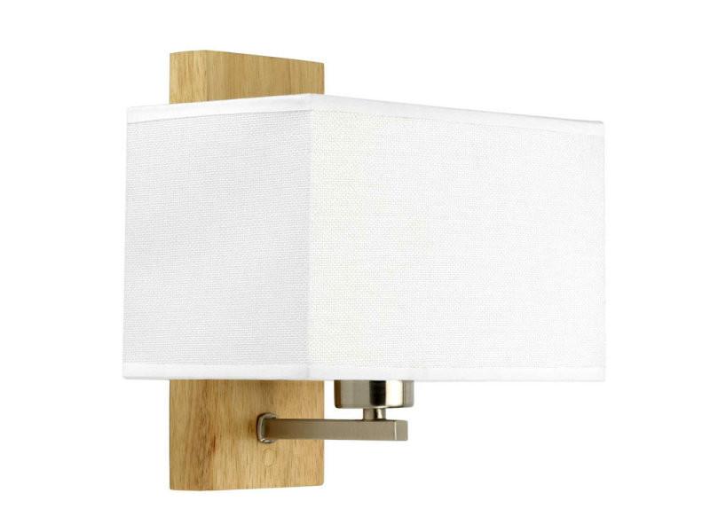 Tissu Hauteur En Et Bois Naturel Blanc Applique Murale 24cm Cubic JculK135TF