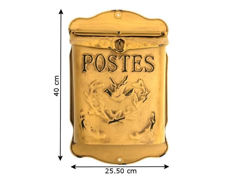 Style ancien boîte aux lettres murales jaune poste 40 cm 14100-Lettre