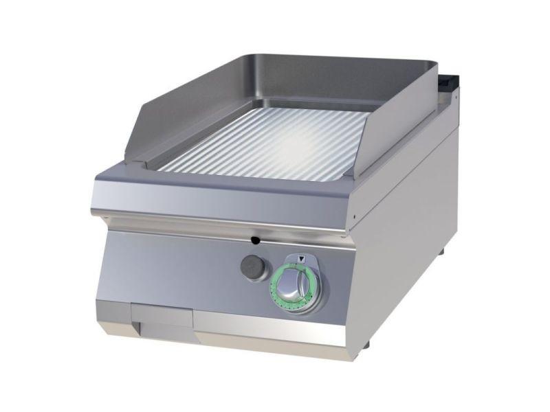 Plancha gaz simple plaque de cuisson rainurée - 7 kw - chrome