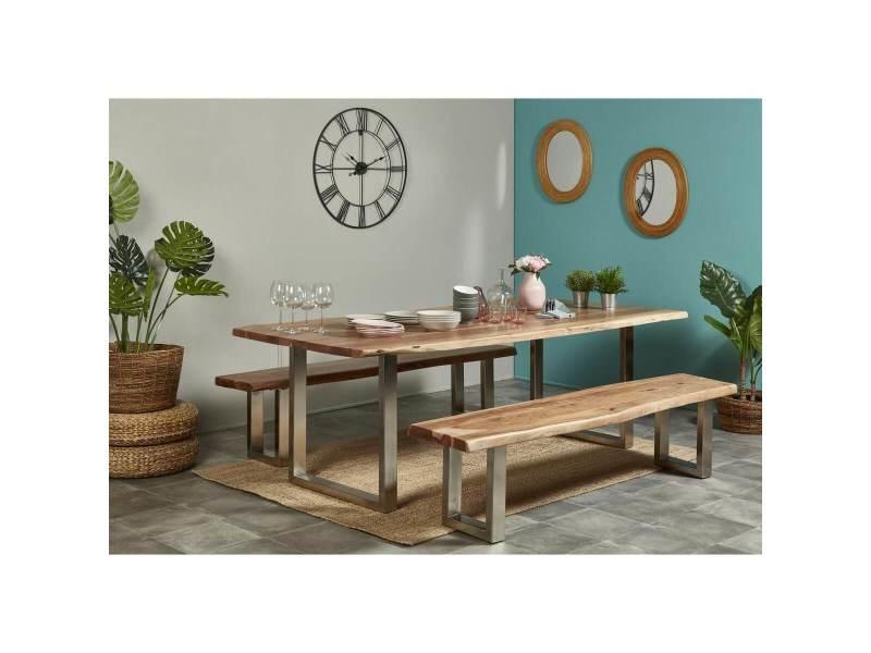 Bobochic table awa bois acacia massif et pieds carrés métal chromé 200