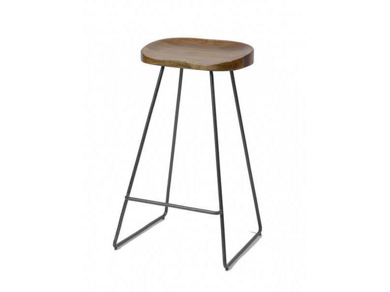 Wood - tabouret de bar minimaliste en bois et acier