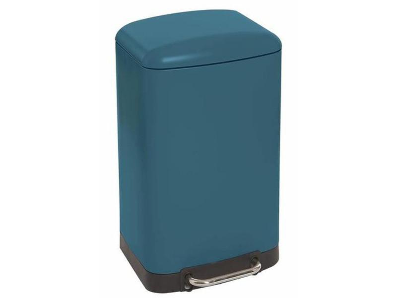 Poubelle rectangulaire à pédale coloris bleu mat - 30 litres -pegane-