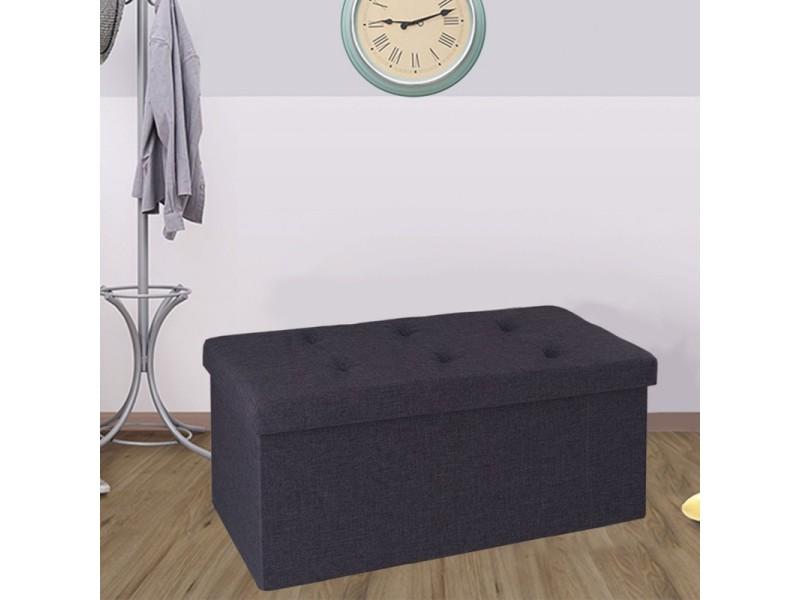 banc coffre rangement tissu gris 76x38x38cm pliable vente de id market conforama. Black Bedroom Furniture Sets. Home Design Ideas