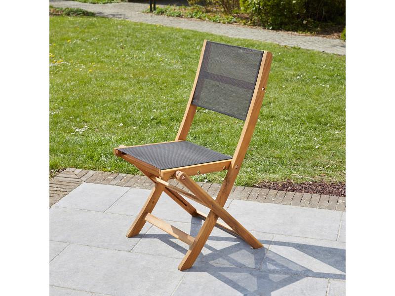 Chaise pliante en bois d'acacia et textilène noir 700043