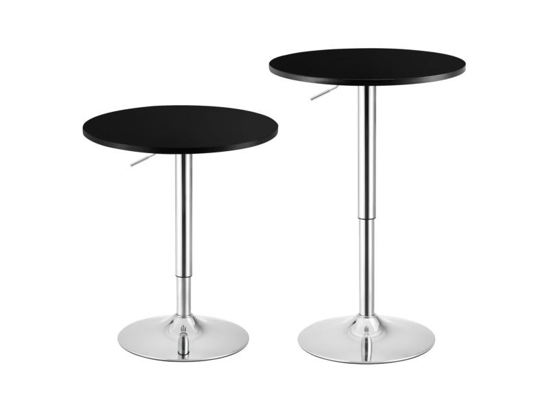 Table de bar ronde bistrot design robuste à hauteur réglable mdf chrome diamètre 60 cm noir [en.casa]