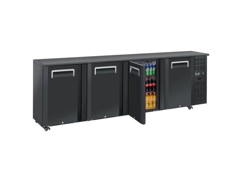 Arrière bar réfrigéré portes pleines en skinplate anthracite - qb - r2904 portes690pleine/battante