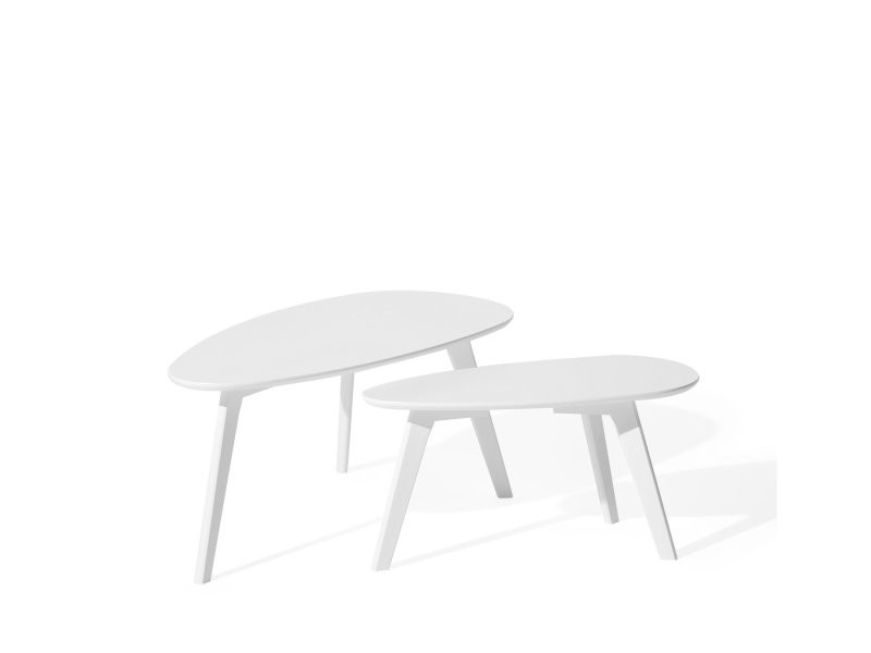 Lot de 2 tables basses blanches fly ii 77081
