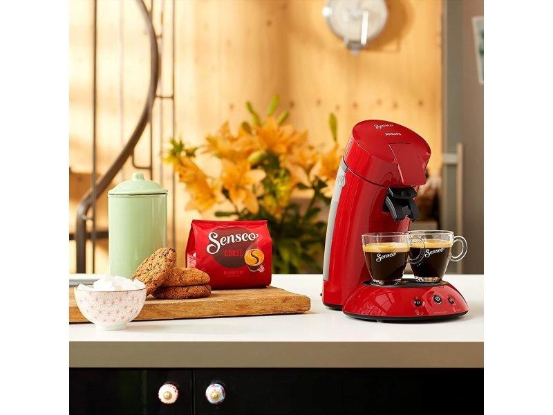 Machine à café à dosettes senseo de 0,75l 1450w rouge intense